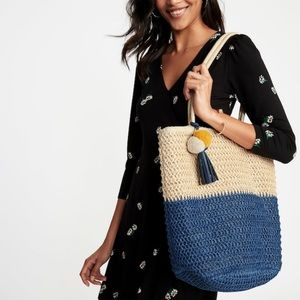 Two tone straw tote purse handbag beach everyday